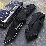 U.S. MARINES Knife Licensed USMC MARINES Assisted Military Knives BLACK Tactical Tanto Knife Review