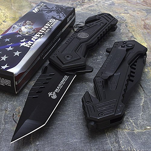 U.S. MARINES Knife Licensed USMC MARINES Assisted Military Knives BLACK Tactical Tanto Knife by Pocket Knife