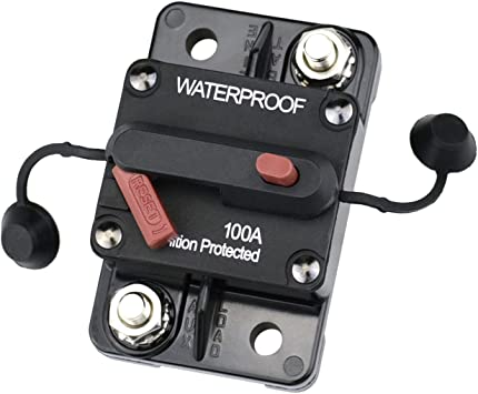 Cllena 100 Amp Circuit Breaker 12V-48V DC with Manual Reset and Disconnect Button for Car Truck Rv Motorhome Marine Automotive Audio Stereo System Trolling Motor Winch etc.