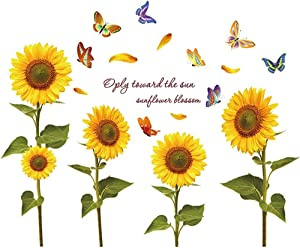 Sunflower Butterfly Wall Decals Garden Flower Wall Stickers Removable Colorful Wall Decor Stickers Bedroom Living Room TV Wall Art Decoraction (1.96 x 1.96 x 1.18 inches)