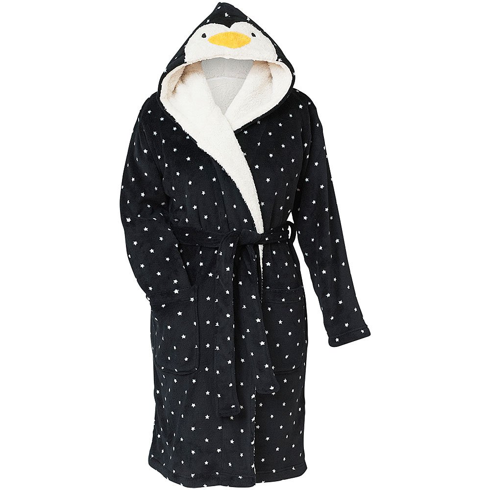 Love To Sleep Cute Novelty Christmas Penguin Women's Super Soft Fleece Hooded Loungewear Robe Gown