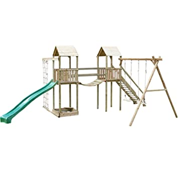 Arundel Outdoor Childrens Double Wooden Swing Set Climbing Frame