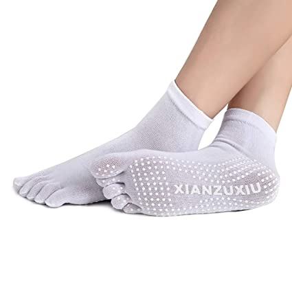 Junlinto Calcetines de Yoga para Mujer Antideslizantes de Silicona con Cinco Dedos de Agarre de algodón