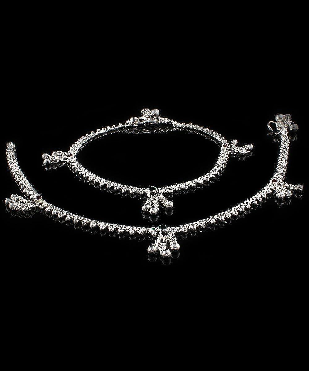 Womens Trendz Handmade Silver Plated Single chain Anguri anklet//Ghungroo Painjan for Women and Girls