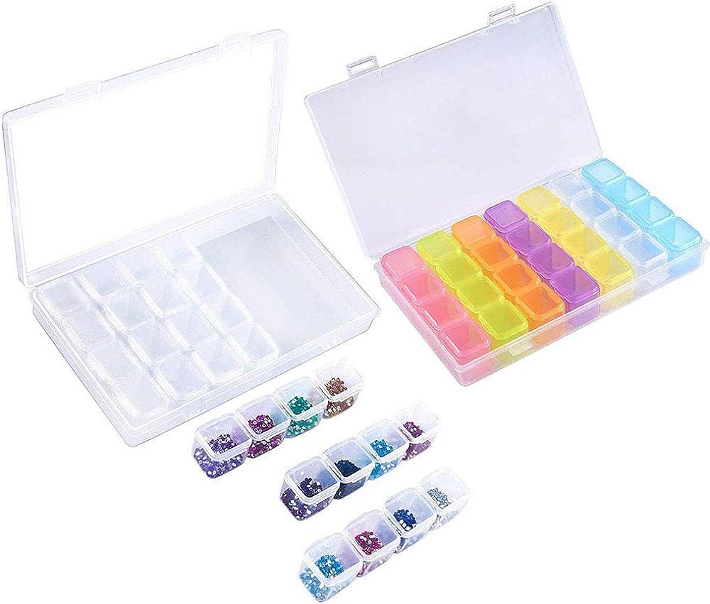 Amasawa 2 Piezas 28 Rejilla Caja De Bordado De Diamantes para Diamantes PendientesCollares Perlas Accesorios para Uñas Anillos Baratijas (Color Transparente)