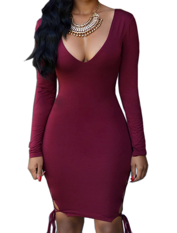 Women Sexy Deep V Neck Long Sleeve Bandage Cocktail Clubwear Bodycon Midi Dress