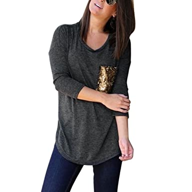 99ae0f1597af58 Fashion Pocket Paillettes Bling Womens Tops O-Cou Casual Pull T-Shirt  Blouse,