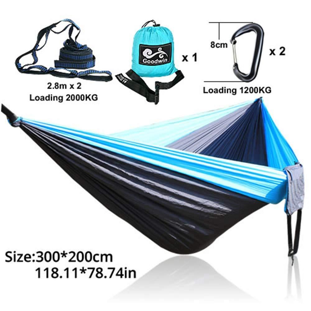 Camping Hammocknew Garden Swing Sleeping Bed Piccola Singola Sedia sospesa Amaca Portatile Paracadute Sedia da Campeggio in Nylon, 22