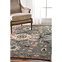 nuLOOM Transitional Tribal Medallion Grey Rug (5 x 8)
