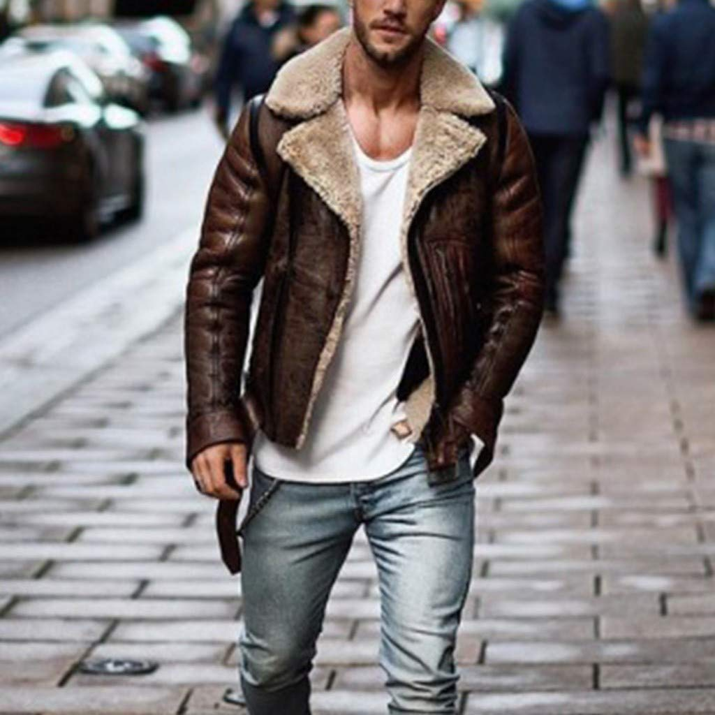 LUCAMORE Mens Suede Leather Jackets Sherpa Coats Shearling Winter Fur Motorcycle Windproof Warm Fuzzy Outwear