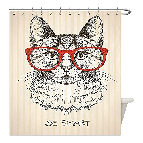 Diy Clever Costume Ideas (Liguo88 Custom Waterproof Bathroom Shower Curtain Polyester Cat Lover Decor Collection Vintage Style Domestic Feral with Hipster Glasses Be Clever Boy Illustration Art Cream Red Black Decorative bath)