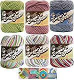 Variety Assortment Lily Sugar'n Cream Yarn 100 Percent Cotton Solids and Ombres (6-Pack) Medium Number 4 Worsted Bundle with 4 Patterns (Asst 39)
