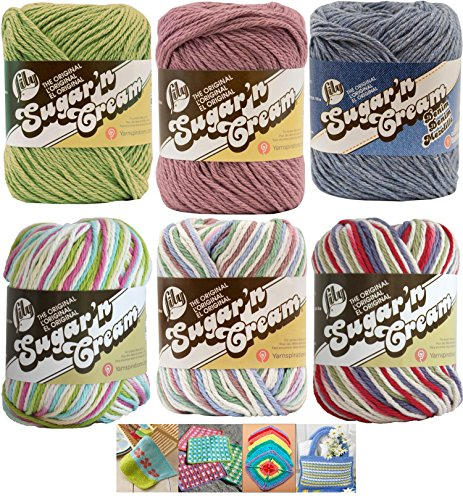 Variety Assortment Lily Sugar'n Cream Yarn 100 Percent Cotton Solids and Ombres (6-Pack) Medium Number 4 Worsted Bundle with 4 Patterns (Asst 39) by Spinrite