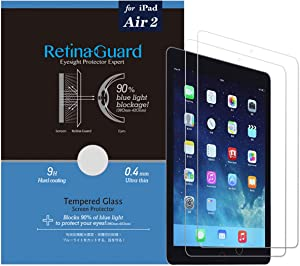 (Pack of 2) RetinaGuard Anti Blue Light Tempered Glass Screen Protector and Unbreakable Glasslike Screen Protector for iPad Pro 9.7 Inch