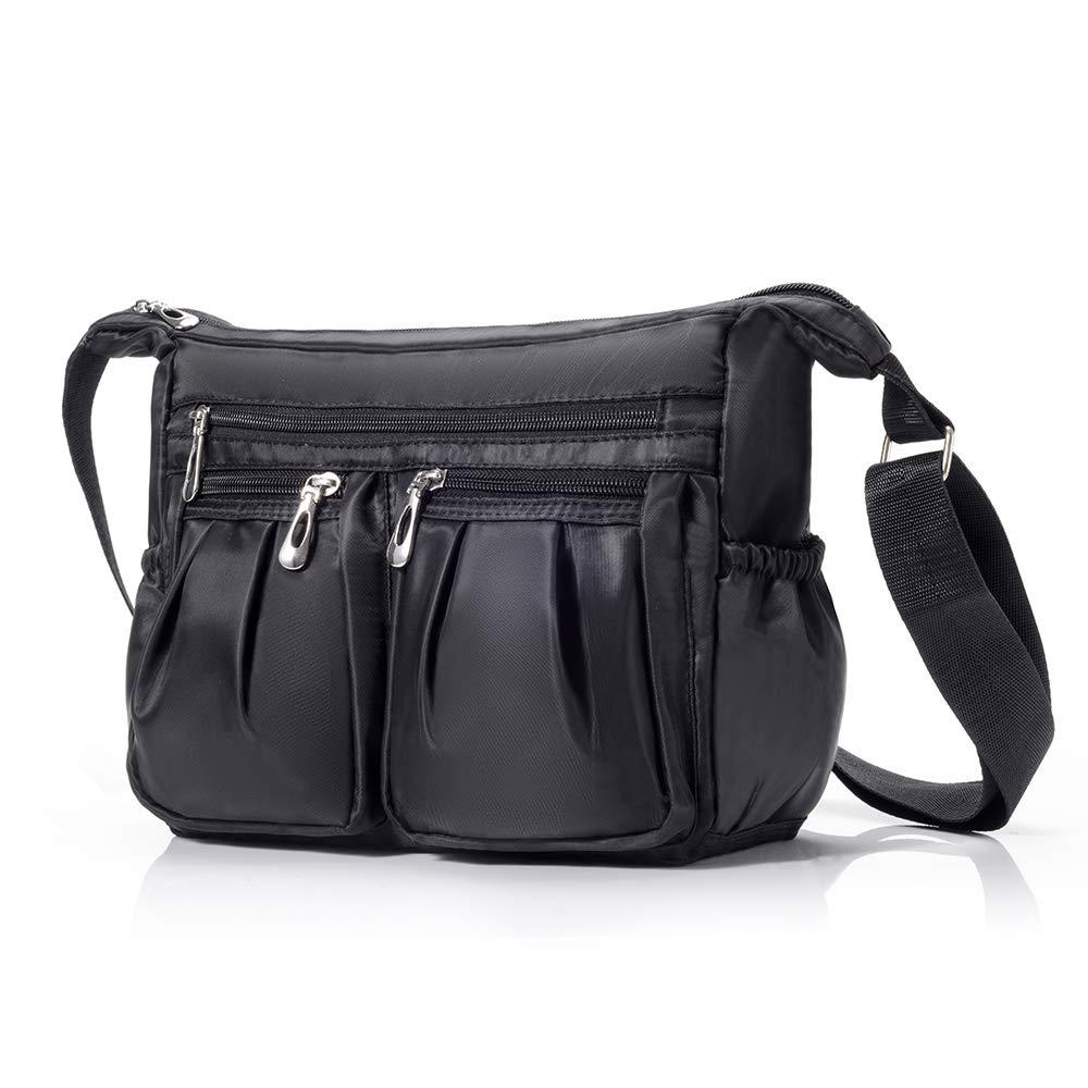 Crossbody Purse Bag for Women Waterproof Nylon Travel Bag Multi Pocket Casual Handbag with Adjustable Strip