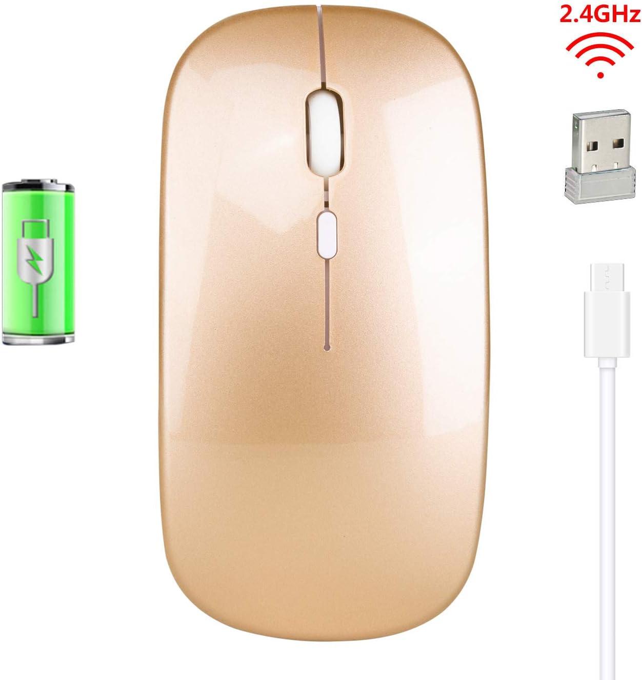 Ratón inalámbrico Lusnebo sin Ruido, con 3 Niveles de dpi Ajustables y ópticos de 2,4 G, Recargable, inalámbrico, para Ordenador portátil, Ordenador, MacBook (Dorado)