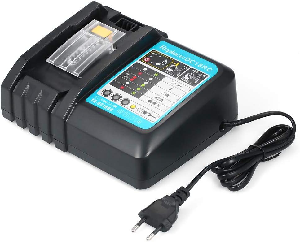 KKmoon Cargadores de Batería DC18RC Cargador de Batería para Makita 7.2V-18V,Batería de litio,BL1430 BL1830 BL1840 BL1850 BL1815 BL1440 Cargador Rápido Adecuado para el Adaptador de Corriente Makita