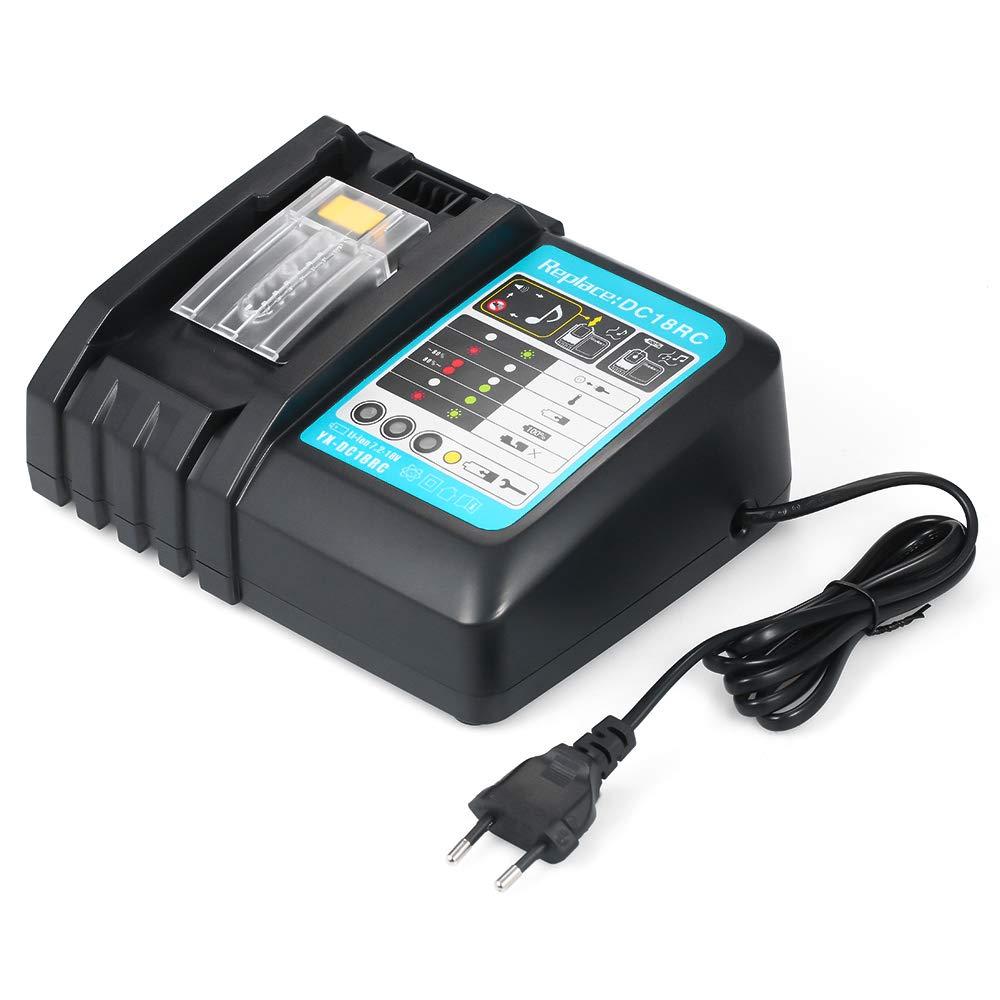 KKmoon Cargadores de Batería DC18RC Cargador de Batería para Makita 7.2V-18V,Batería de litio,BL1430 BL1830 BL1840 BL1850 BL1815 BL1440 Cargador ...