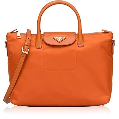 4f2dec413b6 Image Unavailable. Image not available for. Color  Prada Tessuto Saffiano  Nylon Tote Shopping Shoulder Bag Papaya