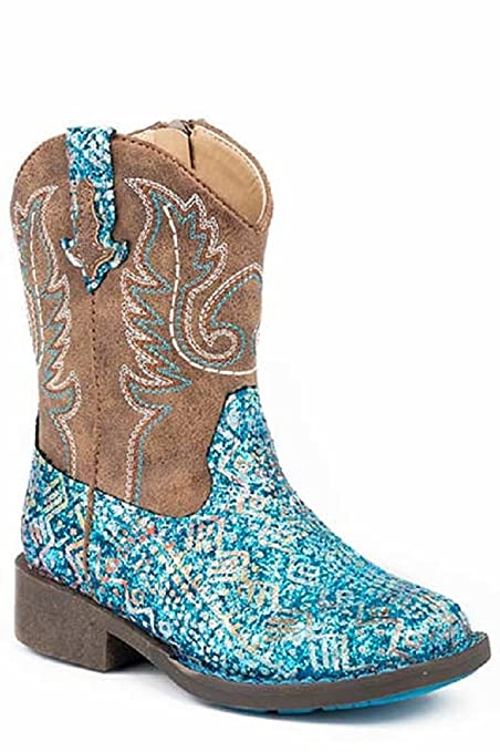 4d30ecb97b48 Image Unavailable. Image not available for. Color  Roper TODDLER Kids Girls  Size 5 Blue GLITTER AZTEC Print Brown Leather Zip Cowboy Boots