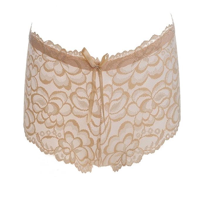 Diosa sexy Ángulo plano de encaje de lujo Pantalones Ropa interior de jacquard de grabado mujeres