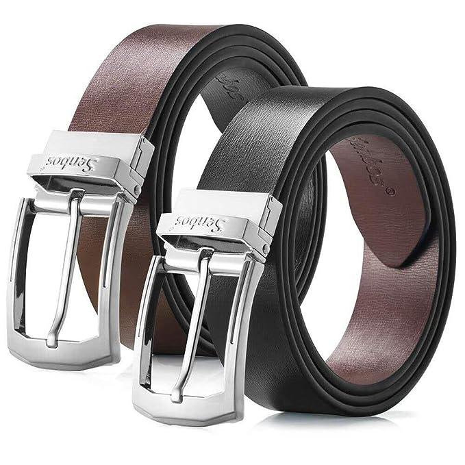 Senbos Cinturón para Hombre Cuero Reversible Bicolor Negro y Marrón con Cinturón de Cuero Genuino con Hebilla, Cinturones Elegantes para Pantalones ...