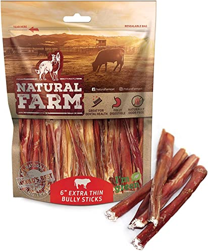 Natural Farm Extra Thin Bully Sticks 6-Inch 25-Pack One Ingredient 100 Natural Beef Grass-Fed Dog Treats Odor-Free Grain-Free Fully Digestible Beef Chews for Small Dogs