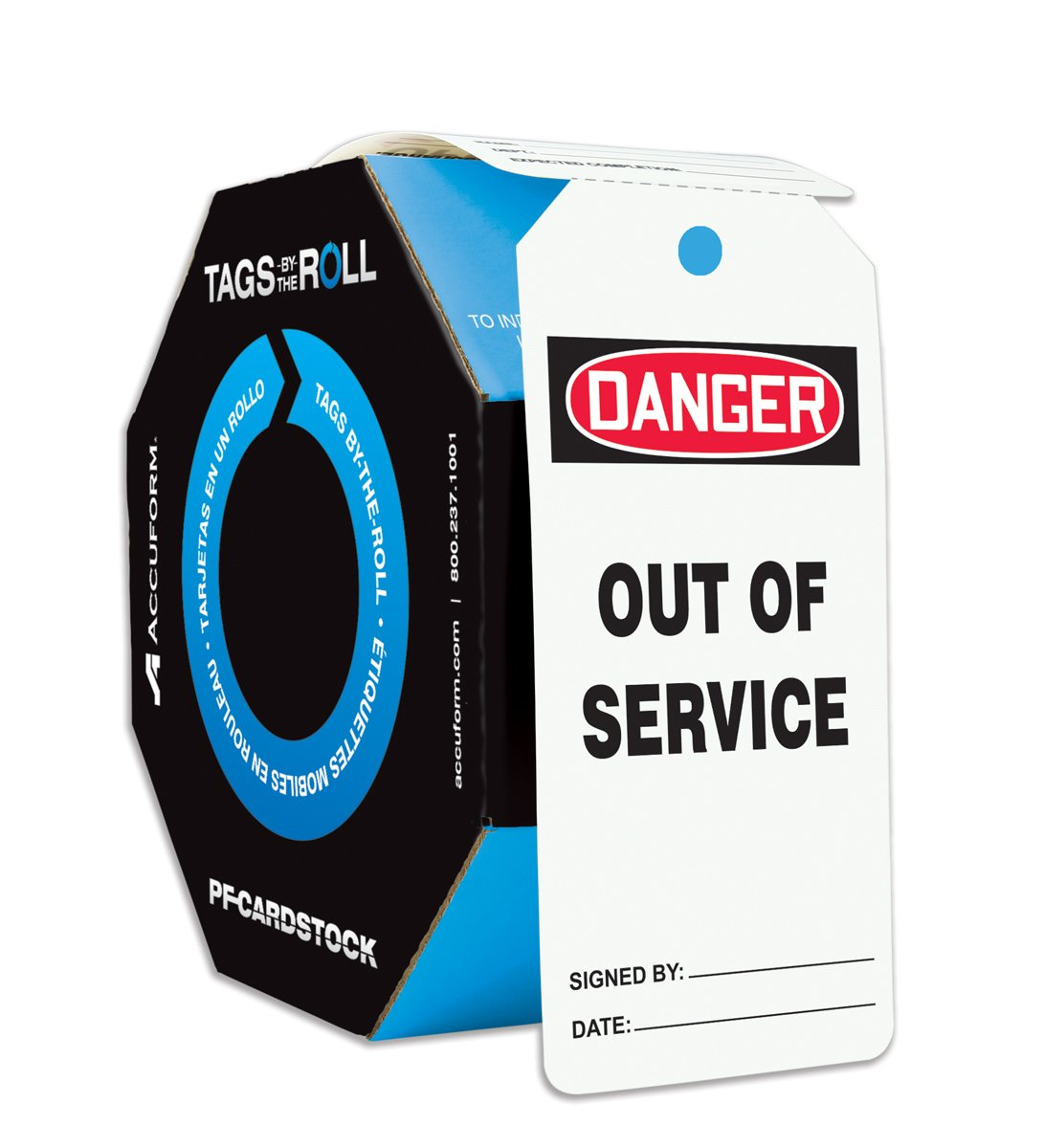 Accuform Signs TAR118 Tags by-The-Roll Safety Tags, Legend''Danger Out of Service'', 6.25'' Length x 3'' Width x 0.010'' Thickness, PF-Cardstock, Red/Black on White (Roll of 100)