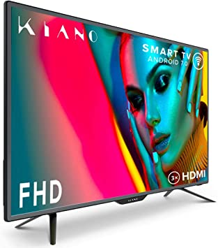 Televisor Kiano Slim TV 40 Pulgadas Smart TV [100 cm Full HD] (Triple Tuner, DVB-T2, Ci+) Android TV, Netflix, Youtube, HBO, Televisor 40