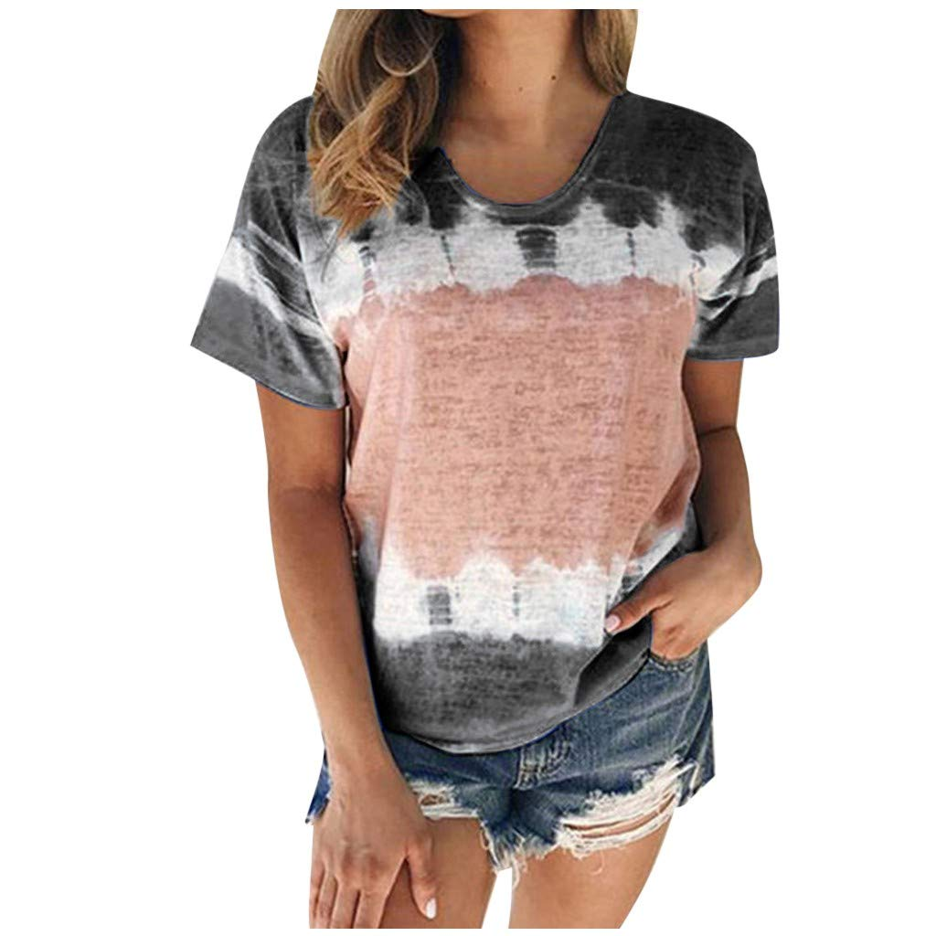Summer Shirts for Women Tie-Dye Leopard Print Short Sleeve Tee Tops Tank Tops Casual Loose Fashion Tunic T-Shirt Blouses