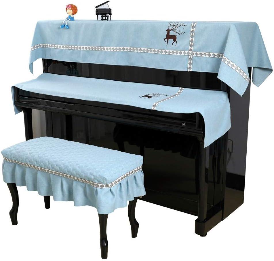 フルピアノカバー ポリエステルピアノタオル三つの点セットはベンチカバーブルーグレーイエローでシンプルでモダンなピアノカバーキーボードカバーを印刷します ユニバーサル縦型ピアノ用 (Color : Blue, Size : 57x37cm)