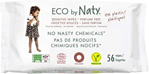 Eco by Naty Thick Baby Wipes for Sensitive Skin, Unscented, Hypoallergenic, Biodegradable and Compostable, 3 Packs of 56 (168 Wipes)