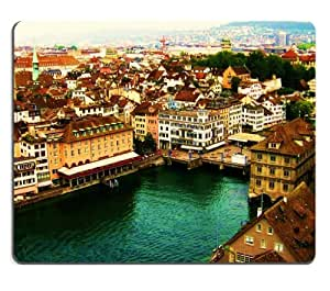 Cityscapes Europe Switzerland Zurich Scenery Mouse Pads Customized Made to Order Support Ready 9 7/8 Inch (250mm) X 7 7/8 Inch (200mm) X 1/16 Inch (2mm) High Quality Eco Friendly Cloth with Neoprene Rubber MSD Mouse Pad Desktop Mousepad Laptop Mousepads Comfortable Computer Mouse Mat Cute Gaming Mouse pad