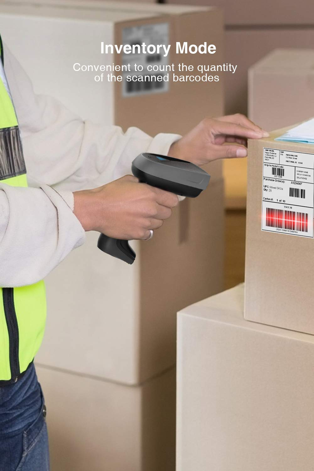 CCD Bluetooth Barcode Reader BS01001 Inateck 1D Wireless Screen Barcode Scanner with Smart Base