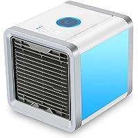 LLFS Mini Luftkühler, Mobile Klimageräte Mini klimaanlage Ventilator Air Cooler mit USB Klimagerät 3 in 1 Raumluftkühler Luftreiniger Einstellbare 7 Farbe LED-Licht