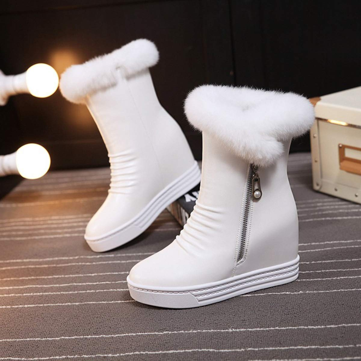 DANDANJIE Womens Boots Winter Wedges Heel Ankle Boots Ladies High-Top Zipper Warm Snow Boot High-Top Shoes for Fall Winter