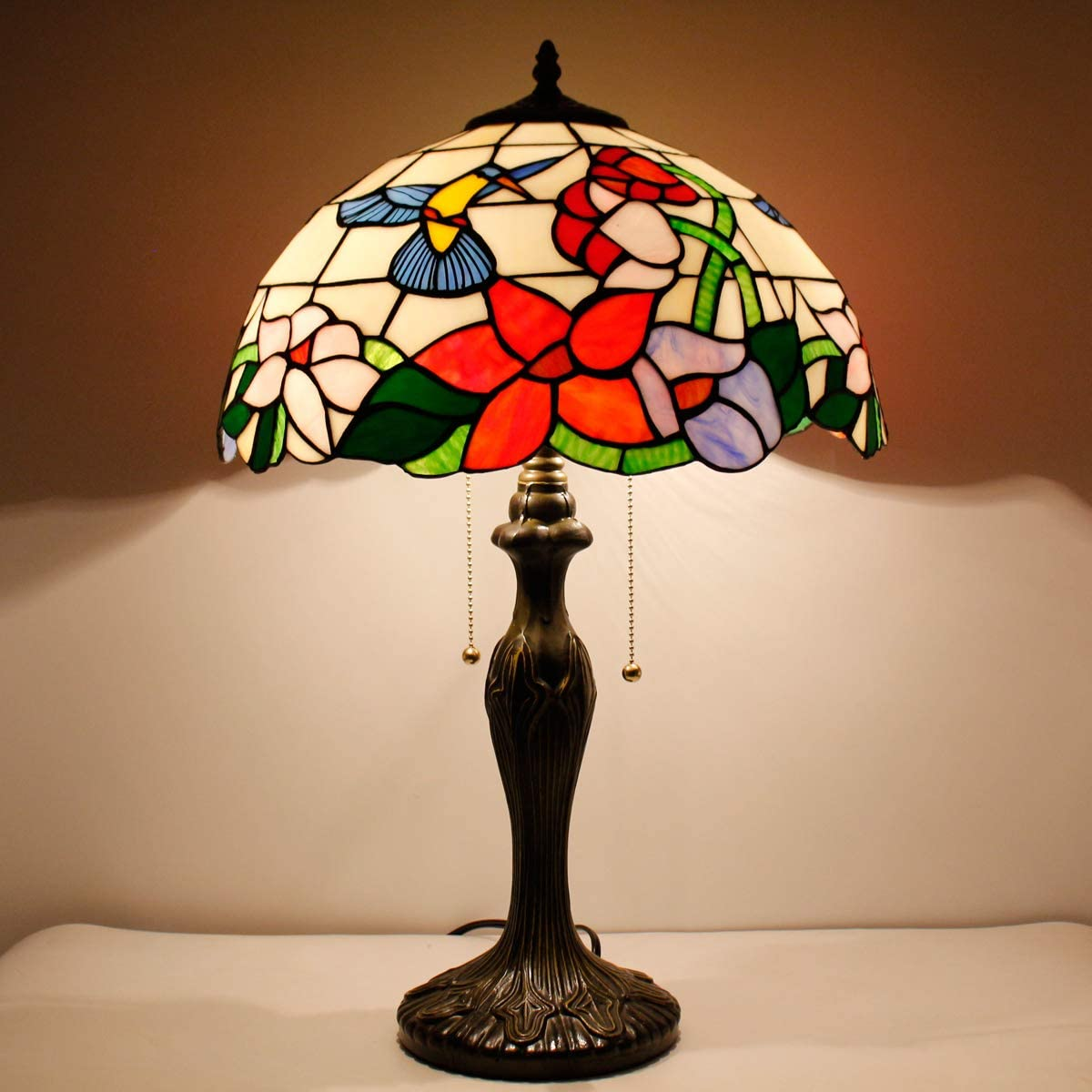 Tiffany Style Table Desk Beside Lamp 24 Inch Tall Hummingbird Design Stained Glass Lamps Shade 2 Light Antique Zinc Base for Living Room Bedroom W16 inch S101 WERFACTORY
