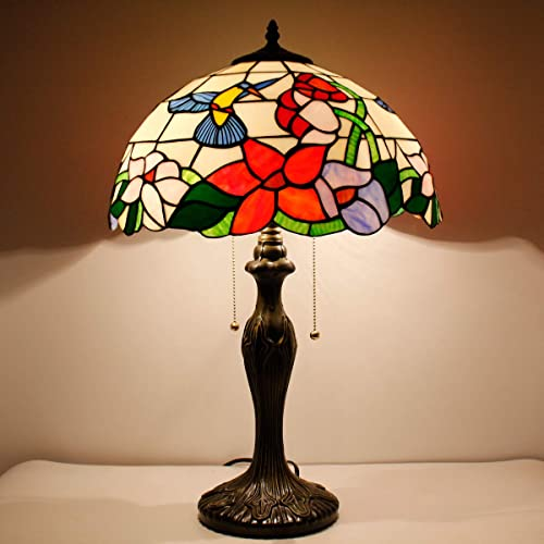 Tiffany Style Table Desk Bedside Lamp W16H24 Inch Hummingbird Stained Glass Shade Reading Light S101 WERFACTORY Lamps Parent Lover Friend Kid Living Room Bedroom Study Office Bar Antique Craft Gift