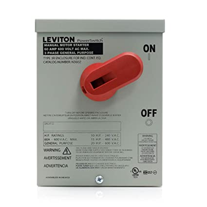 leviton n3602 60 amp, 600 volt, toggle in type 3r enclosure, double AC Motor Starter Switch leviton n3602 60 amp, 600 volt, toggle in type 3r enclosure, double