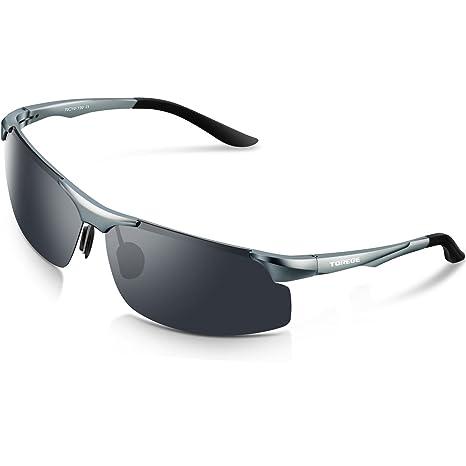a27984fdace06 TOREGE Men s Sports Style Polarized Sunglasses Al-Mg Metal Frame Glasses  M291(Gray)