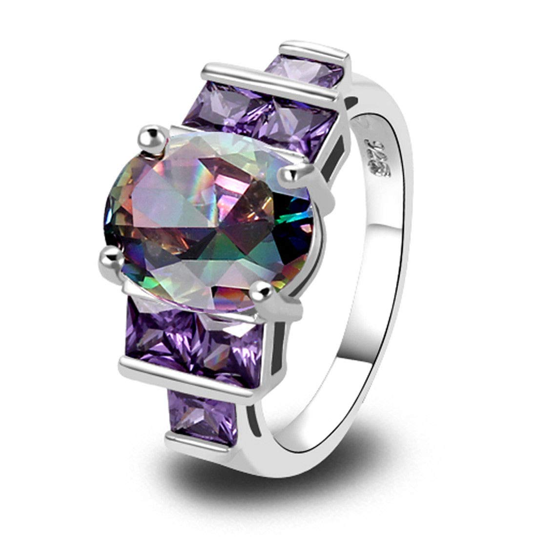 T-Jewelry Cocktail Rainbow Topaz /& Amethyst Gemstone Silver Ring Size 6 7 8 9 10 8
