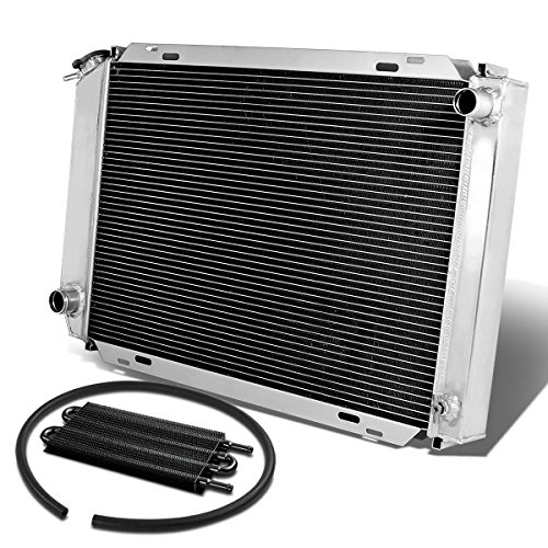 (For Ford Mustang 3rd Gen 3-Row Tri Core Racing Radiator+Black Transmission Oil Cooler)