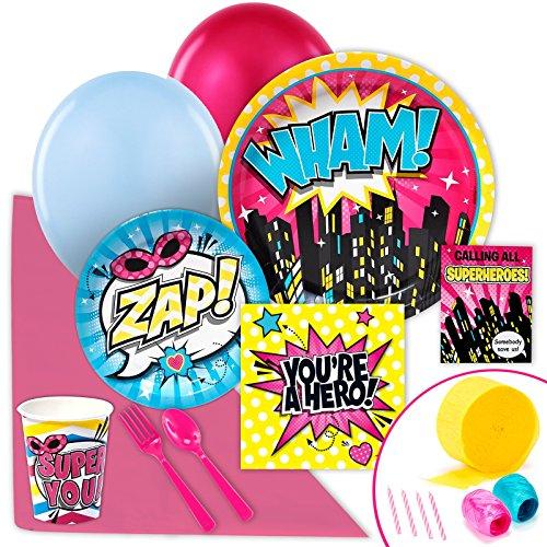 [Superhero Girl Party Supplies - Value Party Pack] (Girl Superhero)
