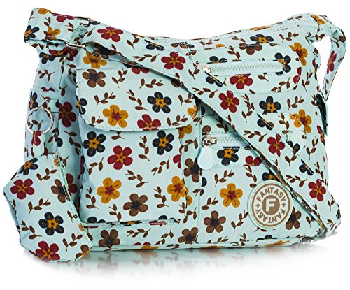 Big Turquoise Messenger Multipocket Floral Rainproof Bag Cross Lightweight Medium Unisex Size Medium Body Handbag Shop Fabric 1Uqwr1