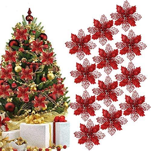 BETOY 16 PCS Ornamento di Albero di Natale,Albero Natale Fiori Poinsettia Fiori Glitter Artificiale Poinsettia Ornamenti Albero di Natale per Matrimonio Natale Festival Decorazione della Porta Fronte