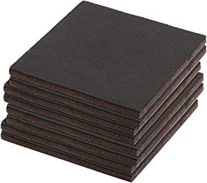 Prime-Line MP76740 Heavy-Duty Non-Slip Furniture Pads, 1/4 in. Thick x 4 in. x 4 in. Squares, Self-Adhesive Backing, Brown Felt w/Black Rubber, Pack of 8