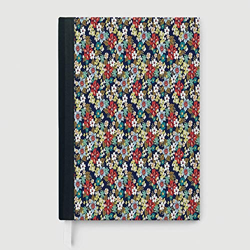 Flourishing Blossoms - Casebound Hardcover Notebook,Floral,Case Bound Notebook,Ornamental Flourishing Blossoms Mixed Botanical Beauty Fragrance Celebration Image Decorative,96 Ruled Sheets,B5/7.99x10.02 in