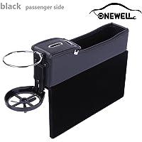 Onewell Multifunktionale Autositz Leder Aufbewahrungs box, Console Seitentasche, Gap Catcher mit Münz-Organizer und Getränkehalter(Schwarz, Beifahrerseite)