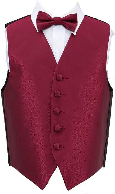 DQT Woven Plain Solid Check Burgundy Boys Wedding Waistcoat 2-14 Years
