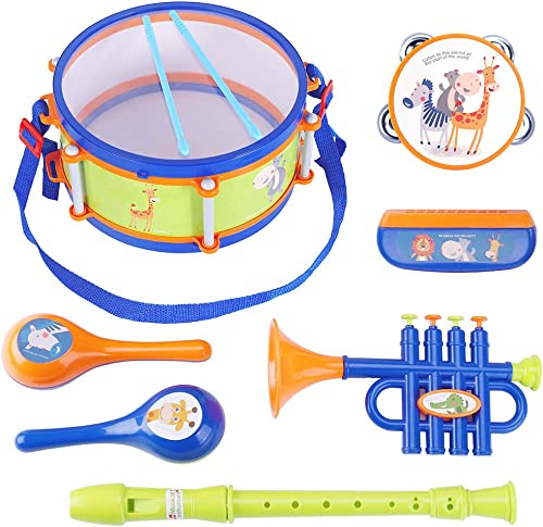 iPlay, iLearn Toddler Musical Instruments Toys, Kids Drum Set, Percussion, Tambourine, Trumpet, Maraca, Harmonica, Flute, Learning Gift for 18 Month 2 3 4 5...